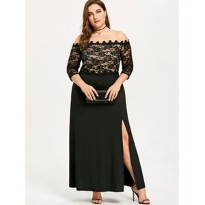 7bd8b5481848a Dresses   Skirts - Plus Size Maxi Slit Lace Off The Shoulder Dress